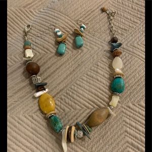 Lucky Multi Stone Necklace and matching earrings
